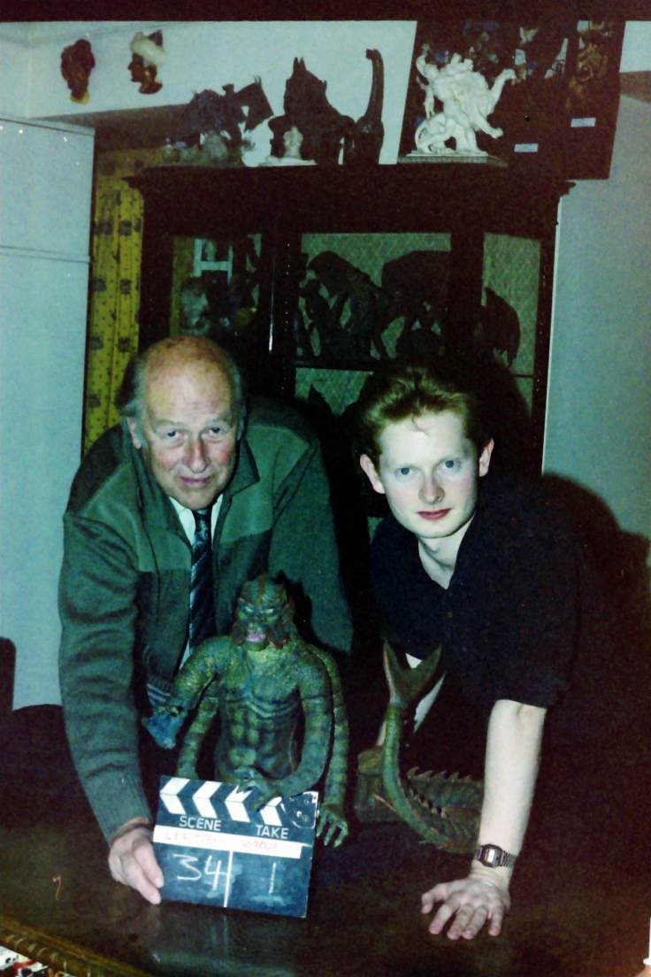 John Walsh & Ray Harryhausen filming documentary 1989